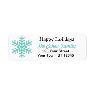 Happy Holidays snowflake return address label