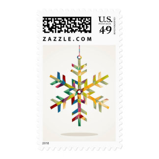 Happy Holidays Snowflake Shape With Triangle Postage Stamps