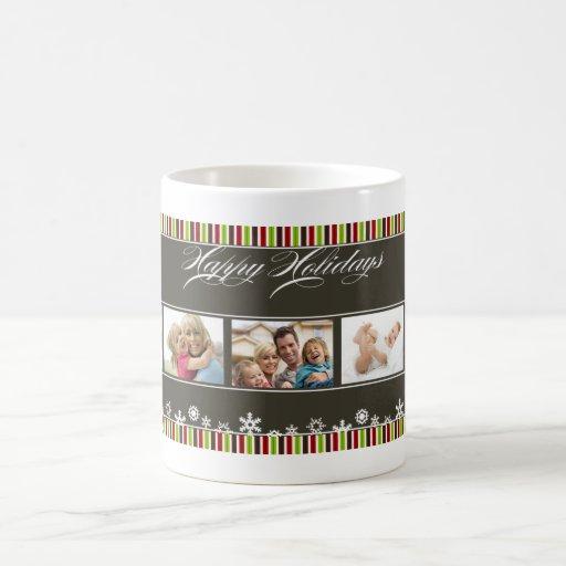 Happy Holidays Snowflake Striped Custom Photo Cup Coffee Mug