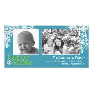 Happy Holidays Snowflakes - 2 photos - horizontal Card