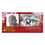 Happy Holidays Snowflakes - 2 photos - horizontal Photo Card