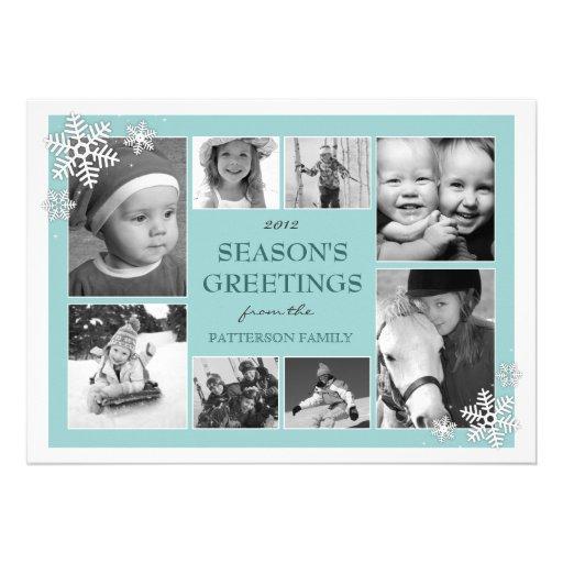 Happy Holidays Snowflakes 8 Photo Card