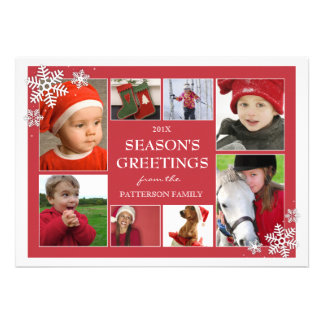 Happy Holidays Snowflakes 8 Photo Greeting Card