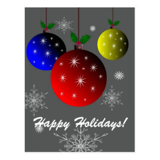Happy Holidays, snowflakes  and ornaments design Postcard