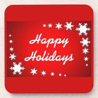 Happy Holidays Snowflakes Cork Coaster