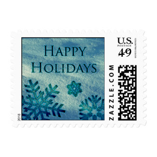 Happy Holidays Snowflakes in Snow Postage