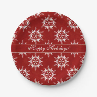 Happy Holidays Snowflakes on Red Paper Plate