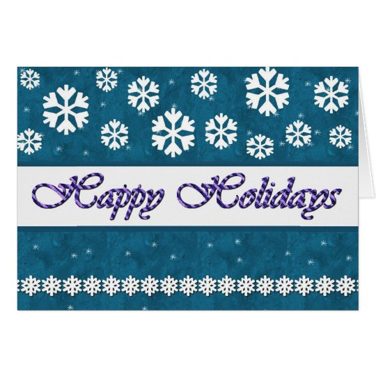 HAPPY HOLIDAYS Snowflakes TEAL BLUE Background Card