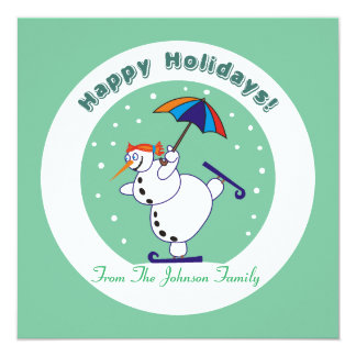 Happy Holidays Snowgirl on Ice Xmas Invitations