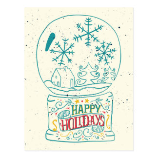 Happy Holidays Snowglobe Postcard