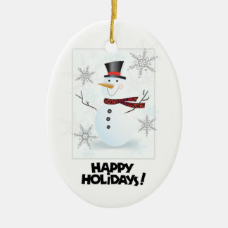 Happy Holidays Snowman1 Oval Tree Ornament