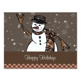 Happy Holidays Snowman (Brown Version) Card