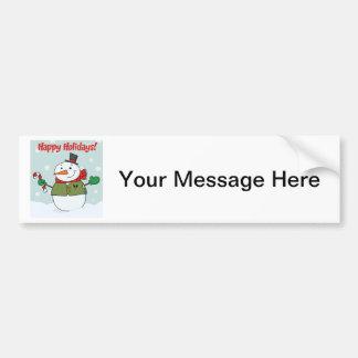 Happy Holidays Snowman Car Bumper Sticker