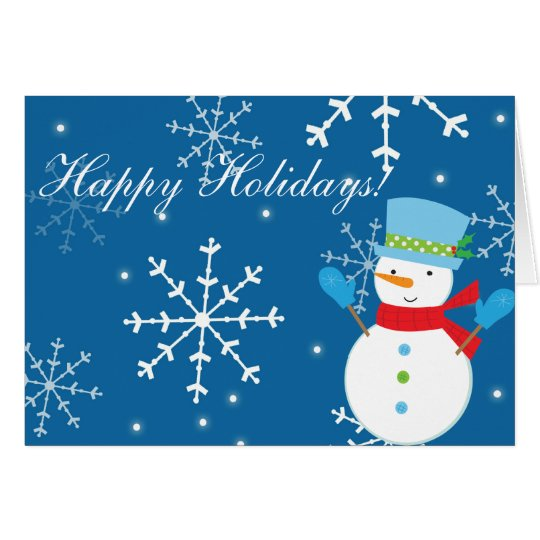 Happy Holidays Snowman Christmas Or Thank You Card