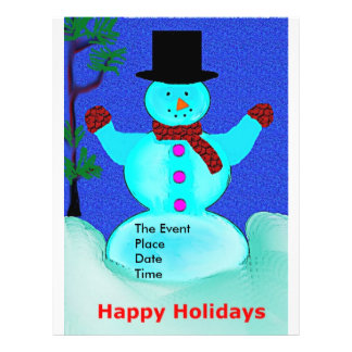 Happy Holidays Snowman Christmas Party Flyer