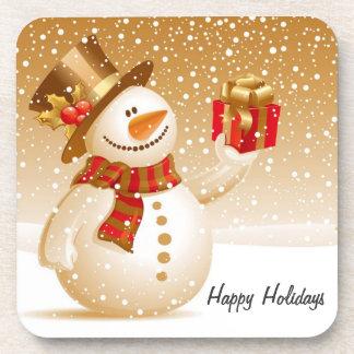 Happy Holidays Snowman Coasters