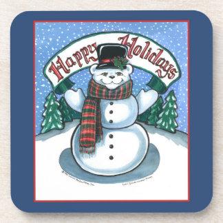 Happy Holidays, Snowman Cork Coasters