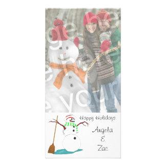 Happy Holidays Snowman Customizable Photo Card