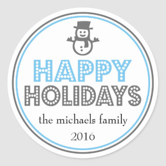 Happy Holidays Snowman Favor Sticker (Blue / Gray)