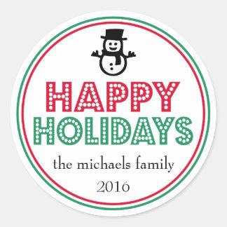 Happy Holidays Snowman Favor Sticker (Green / Red)