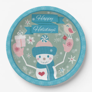 Happy Holidays Snowman & Gifts Paper Plate