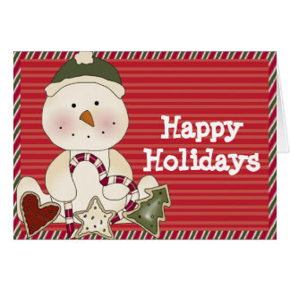 Happy Holidays Snowman & Goodies Card