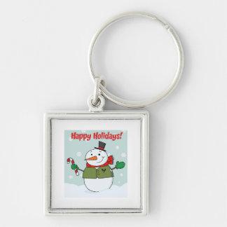 Happy Holidays Snowman Keychain