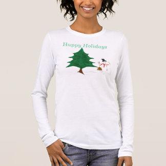 Happy Holidays Snowman Long Sleeve T-Shirt