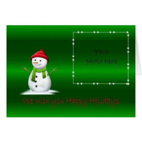 Happy Holidays snowman Merry Christmas Card