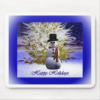 Happy Holidays Snowman Mouse Pad