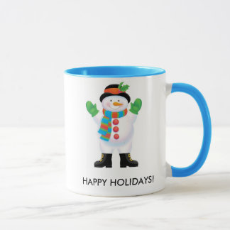 HAPPY HOLIDAYS snowman mug
