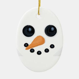 Happy Holidays Snowman Oval Ornament