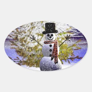 Happy Holidays Snowman Oval Sticker