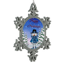 Happy Holidays Snowman Pewter Ornament