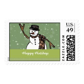 Happy Holidays Snowman Postage