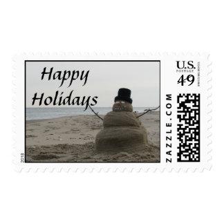 Happy Holidays Snowman Postage Stamp