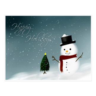 Happy Holidays snowman Postcard