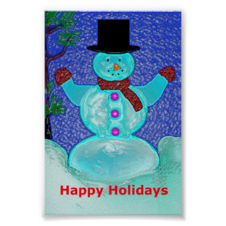 Happy Holidays Snowman Poster