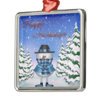 Happy Holidays Snowman Premium Square Ornament