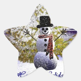 Happy Holidays Snowman Star Sticker