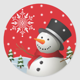 Happy Holidays Snowman Stickers