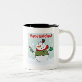 Happy Holidays Snowman Two-Tone Coffee Mug