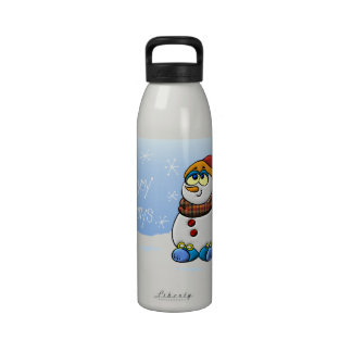Happy Holidays Snowman Drinking Bottle