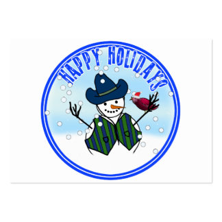 Happy Holidays -  Snowman Wearing Cowboy Hats Business Cards