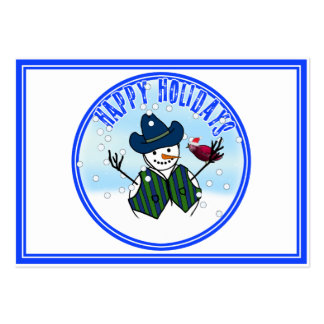 Happy Holidays -  Snowman Wearing Cowboy Hats Business Card Templates