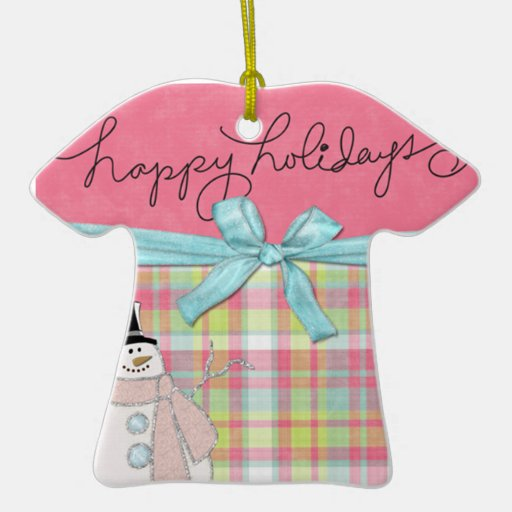 happy holidays snowman with pink and plaid Double-Sided T-Shirt ceramic christmas ornament