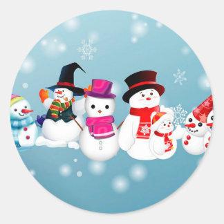 Happy Holidays Snowmen Classic Round Sticker