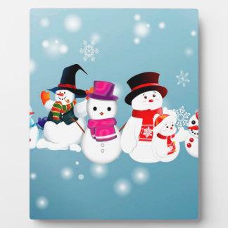 Happy Holidays Snowmen Plaque