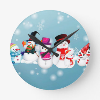 Happy Holidays Snowmen Round Clock