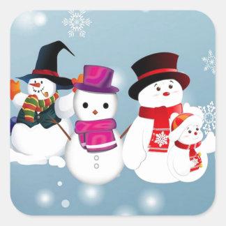 Happy Holidays Snowmen Square Sticker